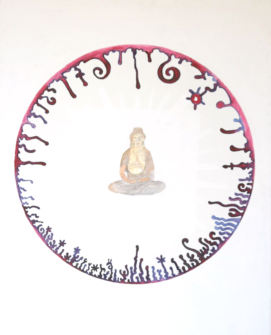 red white buddha circle